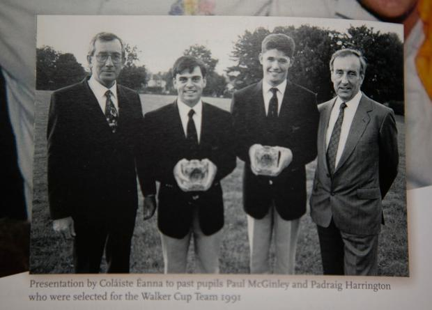 A photo of Paul McGinley and Padraig Harrington receiving awards after being selected for the Walker Cup team in 1991