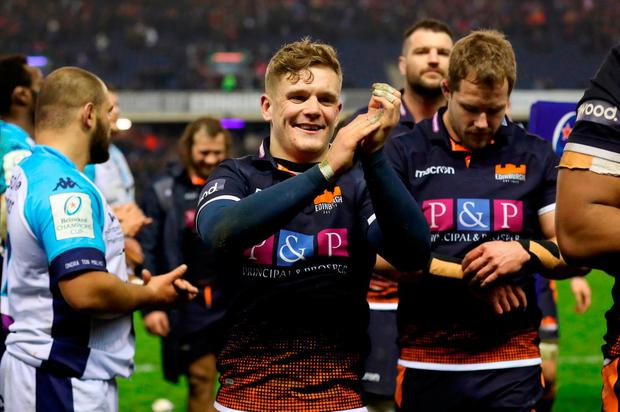Darcy Graham of Edinburgh Rugby shows appreciation to the fans after the Heineken Champions Cup match between Edinburgh Rugby and Montpellier Herault Rugby at Murrayfield Stadium on January 18, 2019 in Edinburgh, United Kingdom. (Photo by Ian MacNicol/Getty Images)
