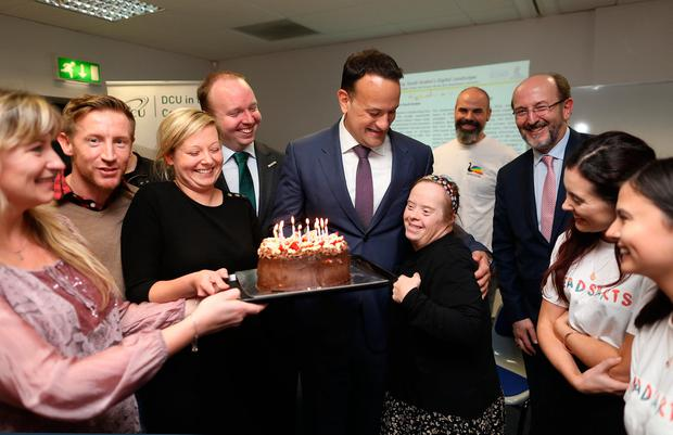 Birthday Boy Leo Varadkar Gets A Cake From DCU Students And Staff Including Denise Hosford