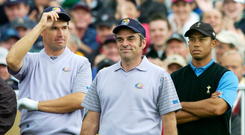 Padraig Harrington, left, and Paul McGinley with Tiger Woods at the 2006 Ryder Cup. Picture: Sportsfile