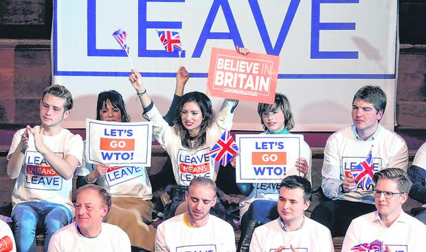 Time's up: Brexit supporters at a 'Leave Means Leave' rally in London on Thursday. Photo: Reuters