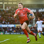 12 January 2019; Jacob Stockdale of Ulster on his way to scoring his side's second try during the Heineken Champions Cup Pool 4 Round 5 match between Ulster and Racing 92 at the Kingspan Stadium in Belfast, Co. Antrim. Photo by David Fitzgerald/Sportsfile