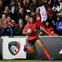 19 January 2019; Robert Baloucoune of Ulster on his way to scoring his side's second try during the Heineken Champions Cup Pool 4 Round 6 match between Leicester Tigers and Ulster at Welford Road in Leicester, England. Photo by Ramsey Cardy/Sportsfile
