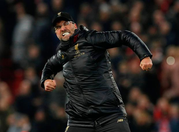 Soccer Football - Premier League - Liverpool v Crystal Palace - Anfield, Liverpool, Britain - January 19, 2019 Liverpool manager Juergen Klopp celebrates at the end of the match REUTERS/Phil Noble