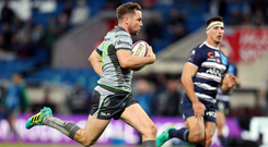 19 January 2019; Jack Carty of Connacht on his way to scoring his side's fifth try during the Heineken Challenge Cup Pool 3 Round 6 match between Bordeaux Begles and Connacht at Stade Chaban Delmas in Bordeaux, France. Photo by Manuel Blondeau/Sportsfile
