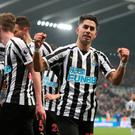 Soccer Football - Premier League - Newcastle United v Cardiff City - St James' Park, Newcastle, Britain - January 19, 2019 Newcastle United's Ayoze Perez celebrates scoring their third goal with team mates. REUTERS/Scott Heppell