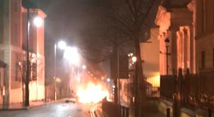 The scene of a suspected car bomb on Bishop Street in Derry Photo credit: @PSNIDCSDistrict/Twitter/PA Wire