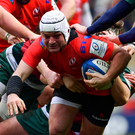 Ulster's Rory Best is tackled by Jake Kerr of Leicester during the Heineken Champions Cup Pool 4 match at Welford Road. Photo: Sportsfile