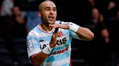 Racing92's Simon Zebo celebrates after scoring a try. Photo: Getty Images