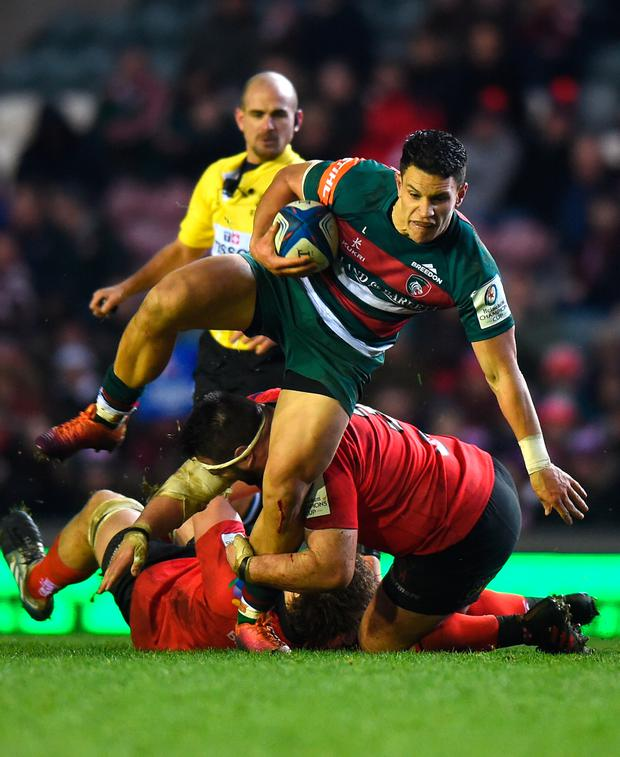 Leicester Tigers' Matt Toomua is tackled by Ulster's Marty Moore. Photo: Getty Images