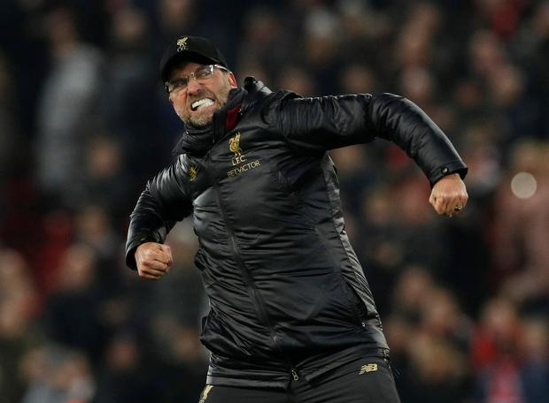Liverpool manager Jurgen Klopp celebrates at the end of the match. Photo: Reuters
