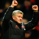 Manchester United's interim manager Ole Gunnar Solskjaer celebrates the win. Photo: Getty Images
