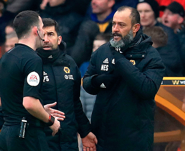 Wolves manager Nuno Espirito Santo is sent to the stands. Photo: PA