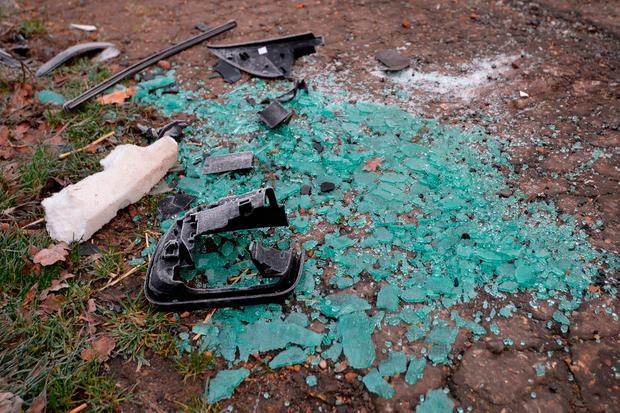 Broken glass and car parts on the side of the A149 near to the Sandringham Estate where the Duke of Edinburgh was involved in a road accident yesterday while driving. John Stillwell/PA Wire