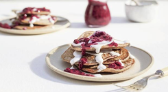 Berry and coconut cream pancakes