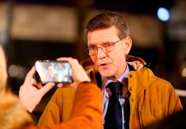 John Boyle, Mayor of Derry City and Strabane District Council, speaks to the media near the scene of a suspected car bomb on Bishop Street. Steven McAuley/PA Wire