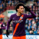 Soccer Football - Premier League - Huddersfield Town v Manchester City - John Smith's Stadium, Huddersfield, Britain - January 20, 2019 Manchester City's Leroy Sane celebrates scoring their third goal Action Images via Reuters/Carl Recine