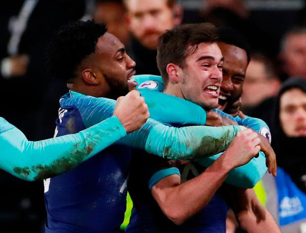 Tottenham's Harry Winks celebrates scoring their second goal with Danny Rose and Georges-Kevin N'Koudou