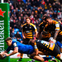 Gary Ringrose scores Leinster's first try against Wasps