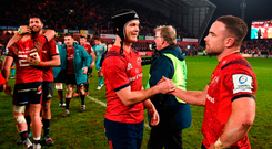 Tyler Bleyendaal, left, and Alby Mathewson of Munster celebrate after Munster beat Exeter