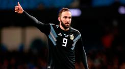 Higuain's loan spell at Milan began well and he scored six goals in five games for the 18-time Italian league champions. Photo credit should read Martin Rickett/PA Wire.