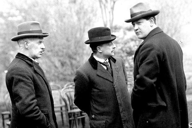 First Dáil: Eamonn Duggan, Arthur Griffith and Michael Collins in 1919