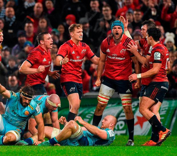 Tadhg Beirne is congratulated by his Munster team-mates after winning a turnover against Exeter at Thomond Park on Saturday. Photo: Diarmuid Greene/Sportsfile