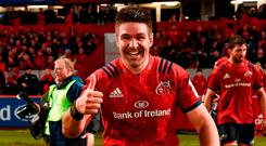 Billy Holland had plenty to smile about after his late line-out steal helped close out a narrow Munster victory against Exeter. Photo: Diarmuid Greene/Sportsfile