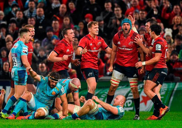 Beirne supremacy: Tadhg Beirne is congratulated by his Munster team-mates after winning a turnover during the Champions Cup. Photo: Diarmuid Greene/Sportsfile