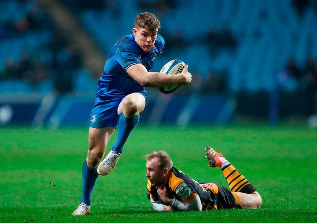 Garry Ringrose leaves Dan Robson trailing in his wake during Leinster's victory over Wasps during their Champions Cup clash at the Ricoh Arena. Photo: David Davies/PA Wire