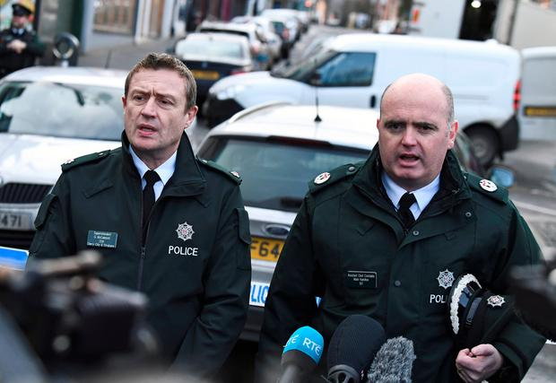PSNI Assistant Chief Constable Mark Hamilton (right) condemned those behind the attack, calling it 'unbelievably reckless'. Photo: REUTERS