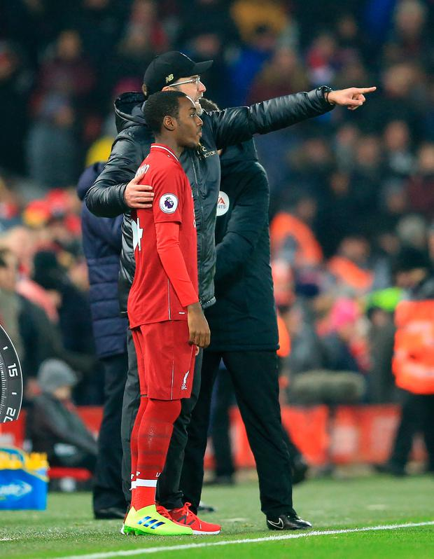Liverpool boss Jurgen Klopp issues instructions to substitute Rafa Camacho. Photo by David Blunsden/Action Plus via Getty Images