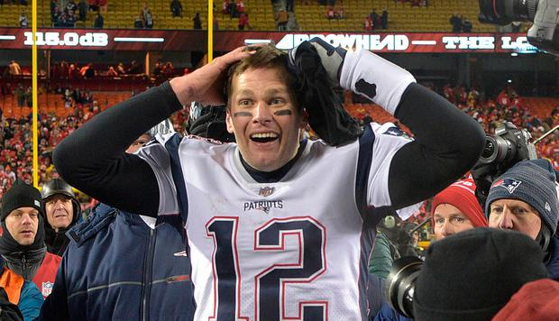 1cbfa7c92 New England Patriots quarterback Tom Brady (12) reacts after defeating the  Kansas City Chiefs