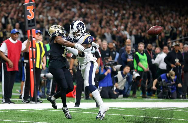 Los Angeles Rams defensive back Nickell Robey-Coleman (23) breaks up a pass intended or New Orleans Saints wide receiver Tommylee Lewis (11) during the fourth quarter of the NFC Championship game at Mercedes-Benz Superdome. Credit: Chuck Cook-USA TODAY Sports