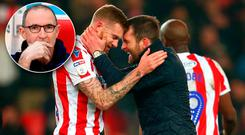 Stoke City manager Nathan Jones (right) celebrates at full time with James McClean after Saturday's win over Leeds. Inset: Martin O'Neill, who is keen to bring McClean to Nottingham Forest