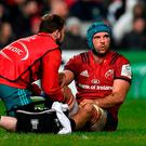 Tadhg Beirne of Munster receives medical attention during the Heineken Champions Cup Pool 2 Round 6 match between Munster and Exeter Chiefs at Thomond Park in Limerick. Photo by Diarmuid Greene/Sportsfile