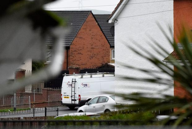 A suspected vehicle (white van) is seen as the scene of a security alert in Derry Northern Ireland, January 21, 2019. REUTERS/Clodagh Kilcoyne
