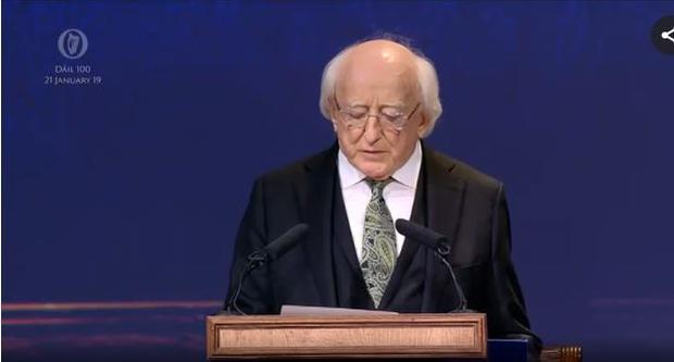 President Michael D Higgins speaking in Dublin's Mansion House today. Image: Oireachtas TV