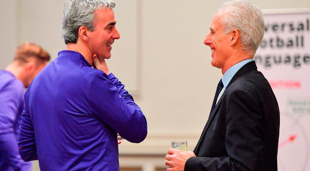 Charlotte Independence head coach Jim McGuinness, left, and Republic of Ireland manager Mick McCarthy during the FAI UEFA Pro Licence course at Johnstown House in Enfield, Co Meath. Photo by Seb Daly/Sportsfile