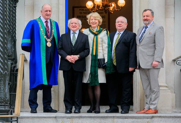(L to R) Lord Mayor of Dublin Nial Ring, President of Ireland Michael D Higgins, Sabina Higgins, Ceann Comhairle Sean O Fearghail & Cathaoirleach Denis O'Donovan during an event to commemorate the centenary of the First Dáil at the Mansion House, Dublin. Photo: Gareth Chaney, Collins