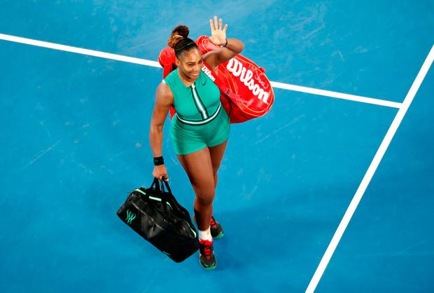 Serena Williams celebrates after winning the match against Simona Halep. Photo: Reuters