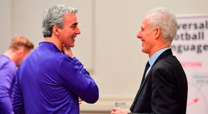 Charlotte Independence head coach Jim McGuinness, left, and Republic of Ireland manager Mick McCarthy. Photo: Seb Daly/Sportsfile
