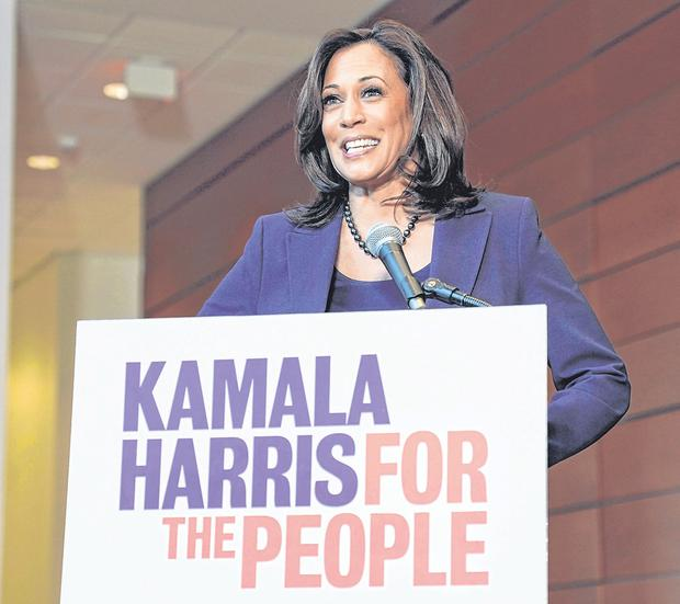 'Bring our voices together': Senator Kamala Harris speaks to the media after announcing she will run for president at Howard University in Washington. Photo: Reuters