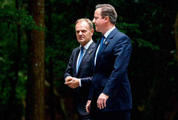BBC handout photo of David Cameron with European Council president Donald Tusk as seen during the BBC documentary 'Inside Europe: Ten Years of Turmoil'. Photo: European Council Newsroom/BBC/PA Wire