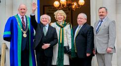 Lord Mayor of Dublin Nial Ring, President of Ireland Michael D Higgins, Sabina Higgins, Ceann Comhairle Sean O Fearghail & Cathaoirleach Denis O'Donovan during a Daill100 event to commemorate the centenary of the First Dail at the Mansion House, Dublin. Photo: Gareth Chaney Collins