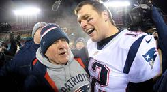 New England Patriots head coach Bill Belichick and quarterback Tom Brady (12) celebrate the win over the Kansas City Chiefs. Photo: USA TODAY Sports