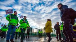 PNA members working in the ambulance service picketing at the Dublin South central ambulance station on Davitt Road, Dublin Pic: Mark Condren