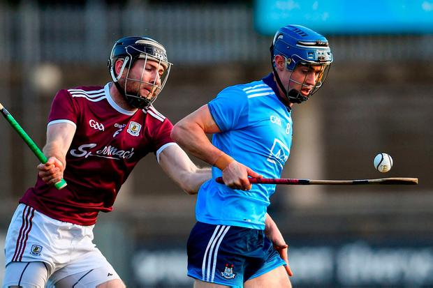 Dublin's Rian McBride in action against Galway's Pádraic Mannion during their recent Walsh Cup semi-final. Photo: Ramsey Cardy/Sportsfile