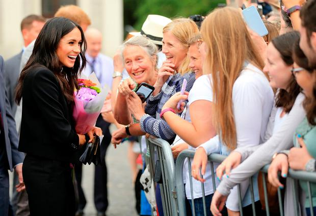 Welcome: Meghan Markle in Trinity College after her visit to the 'Book of Kells' in July 2018. Photo: Gerry Mooney