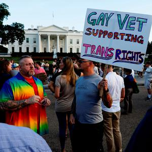 Anger: Veterans protest plan for ban on transgender people in military. Photo: REUTERS